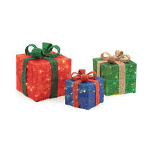 pre lit christmas gift boxes home accents pre lit gift boxes yard decor set of 3