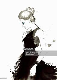 fashion illustration of woman wearing feather evening gown stock