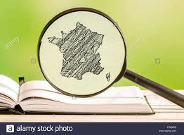 French Map France With A Pencil Drawing Of A French Map In A Magnifying Glass