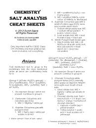 chemistry salt analysis cheat sheets salt chemistry solubility