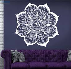 Yoga Home Decor by Rowmocean Vinyl Decal Indian Mandala Flower Om Sign Ornament Yoga
