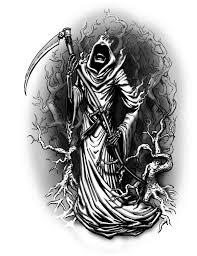 grim reaper on bike tattoo design on back
