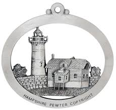 portsmouth harbor lighthouse tree ornament pewter