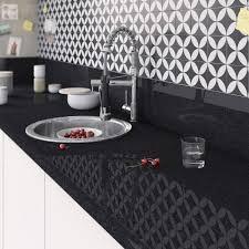plan de travail cuisine blanc brillant plan de travail stratifié effet marbre noir brillant l 300 x p 65 cm