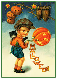 halloween young boy with pumpkins and owls counted cross stitch or
