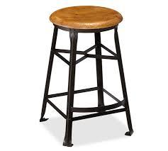 Metal Bar Stools With Wood Seat Decker Wood Seat Barstool Pottery Barn