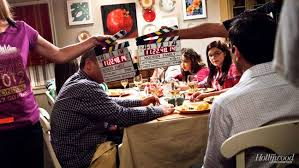 modern family set visit at the dinner table with tv s top comedy