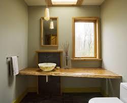 Bathroom Natural Bathroom Narrow Bathroom With Natural Edge Vanity Top Also