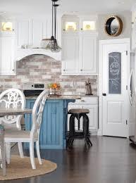 kitchen budget friendly painted brick backsplash at the everyday