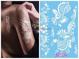 1pc waterproof white mehndi flower body arm tattoo sleeve women
