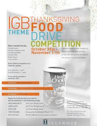 igb theme thanksgiving food drive competition carl r woese