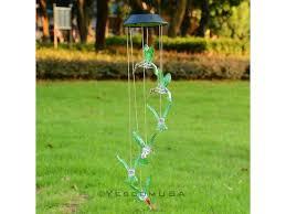 Hummingbird Garden Decor Solar Color Changing Led Hummingbird Wind Chimes Home Garden Decor
