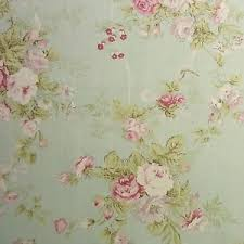 vintage style linen blend fabric rose flowers shabby chic mint