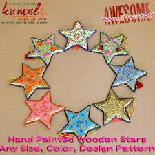 Red Floral Hand Painted Wooden Cutout Star 2017 Christmas