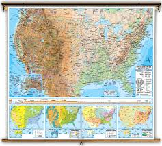 United States Map With Oceans by Advanced United States Physical Classroom Map On Spring Roller
