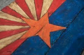 arizona flag handmade distressed painted wood vintage art