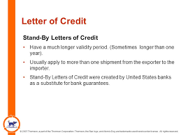 Letter Of Credit Validity 2007 thomson a part of the thomson corporation thomson the