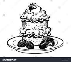 chocolate martini clipart strawberry shortcake dessert retro clipart illustration stock
