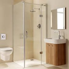 bathroom frameless glass shower doors with rain shower head and