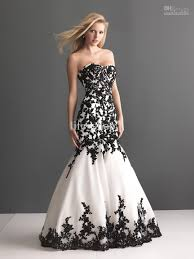 black and white dresses buy cheap 2013 black and white wedding dress mermaid appliqued