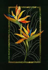 two bird of paradise flowers pattern sashiko applique design