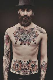 model chest and stomach tattoos for