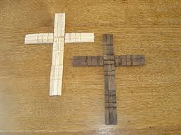 wooden craft crosses maybe with craft sticks instead of clothespins for a larger