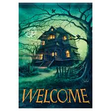 halloween garden flag haunted house