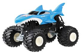 monster truck toy videos amazon com wheels monster jam shark die cast vehicle 1 24