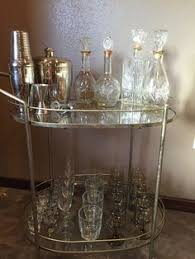 Wet Bar Set Equestrian Style Vintage Wet Bar Set With 4 Vintage Decanters And