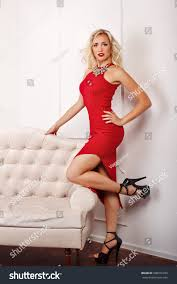 young attractive red dress high stock photo 500015230