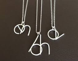 monogram initials necklace silver initial necklace letter necklace big initial