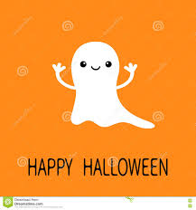 funny flying baby ghost smiling face happy halloween greeting