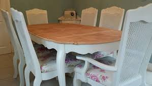 Bergere Dining Chairs Shabby Chic French Bergere Dining Table And 6 Chairs In Laura