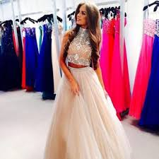 high collar beaded champgane two piece prom dress 2015 plus size