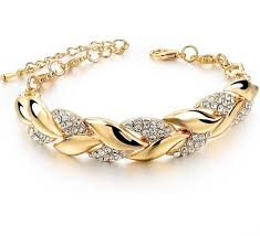 gold bracelet styles images Braided gold color leaf crystal bracelet assorted styles jpg