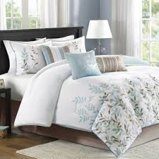 Whole Bedroom Sets Bedroom Modern White Bedding Designs Feat Blue And Grey Leaf