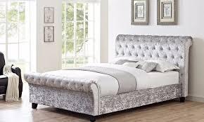 Crushed Velvet Fabric Upholstery Brand New Double Crush Velvet Fabric Upholstered Sleigh Bed Frame