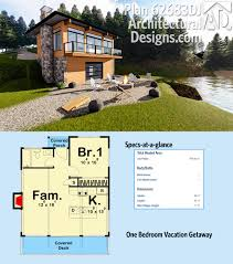 water view house plans plan 62683dj one bedroom vacation getaway house plans the o