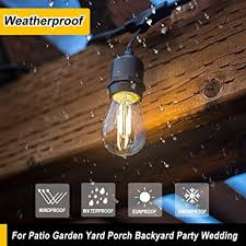 Ter Proof Light Fixtures 48 Ft Dimmable Led Outdoor String Lights Weatherproof Ul Listed