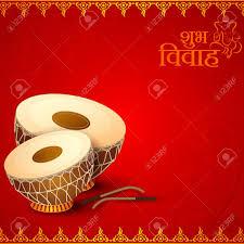 Weeding Invitation Card Vector Illustration Of Drum In Indian Wedding Invitation Card