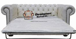 Chesterfield  Seater Sofa Bed White Leather Amazoncouk - Chesterfield sofa uk