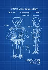 mechanical walking doll patent poster patent print wall decor