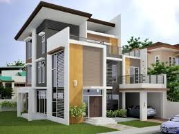 trendy idea of exterior home design with dark grey also yellow