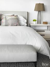 Suede Bed Frame Modern White Bedroom Vignette With Suede Bedframe Luxe Interiors