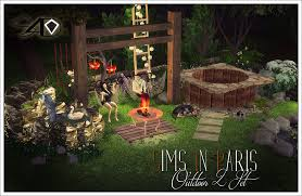 Firepit Set by 2t4 Sims In Paris Outdoor 2 Set Sims 4 Designs