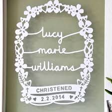personalised quote gifts personalised christening gift papercut by ant design gifts
