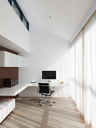 Home Office Design Themes by White Minimalist Home Office Design With Floating Desk Imac And