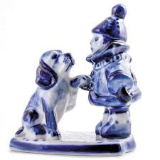home interior porcelain figurines blue and white porcelain dishes teacup gzhel russian pottery