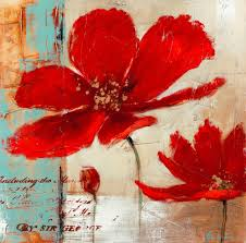 Poppy Home Decor by Blue Background Red Poppies Flower Oil Painting On Canvas Modern